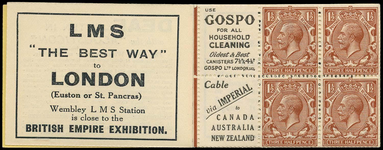 GB 1924  SG420d Booklet pane - Advert 66