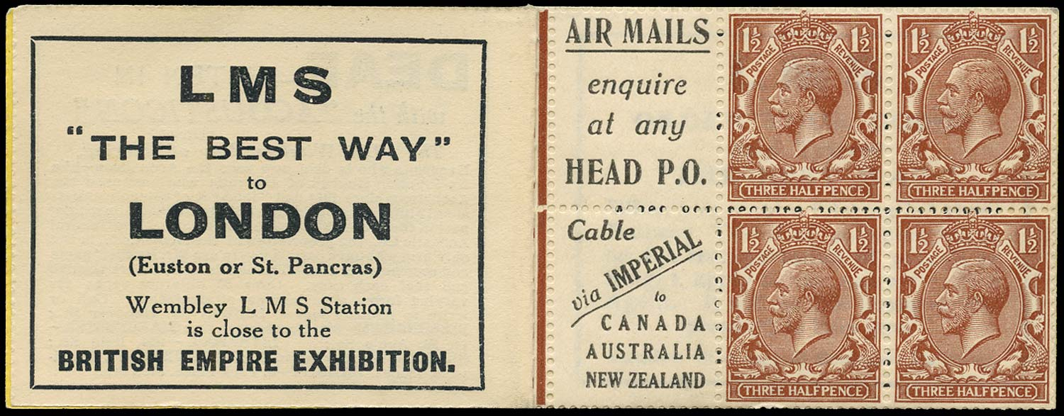 GB 1924  SG420d Booklet pane - Advert 1