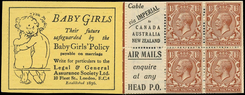 GB 1924  SG420d Booklet pane - Advert 3