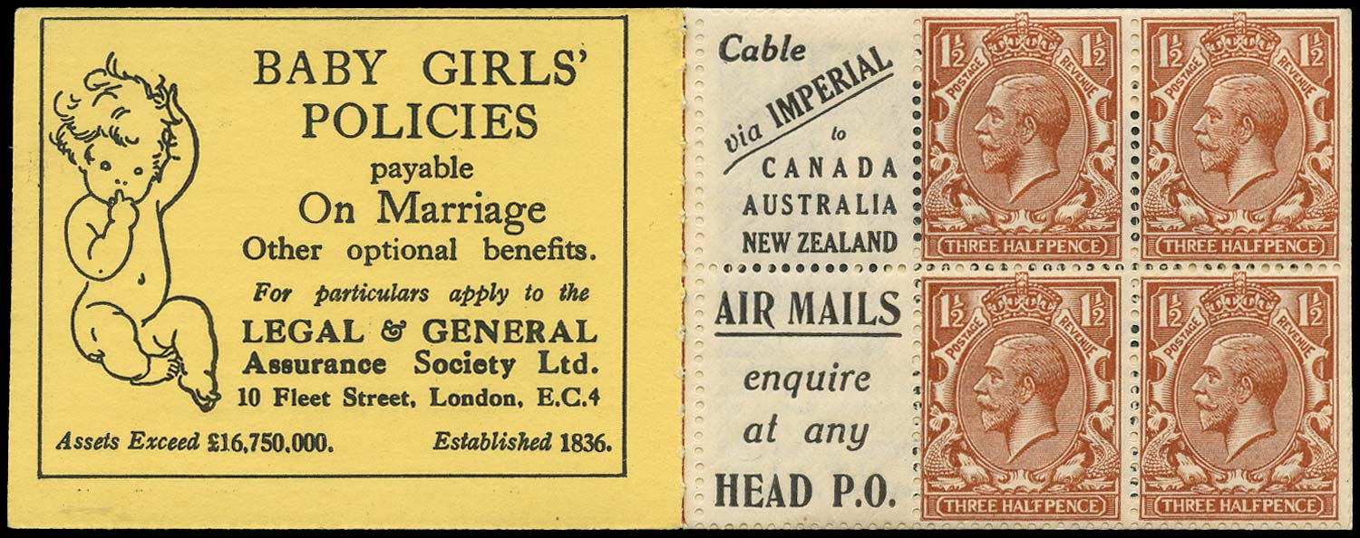 GB 1924  SG420dw Booklet pane - Advert 3