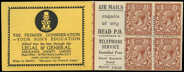 GB 1924  SG420dw Booklet pane - Advert 2