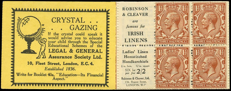GB 1924  SG420d Booklet pane - Advert 80