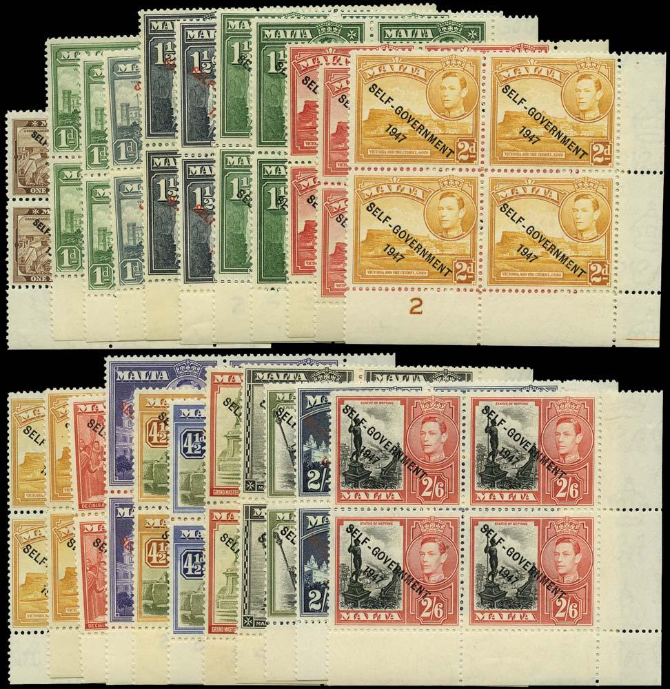 MALTA 1948  SG234/46 btwn Mint Self-Government range of 22 plate blocks