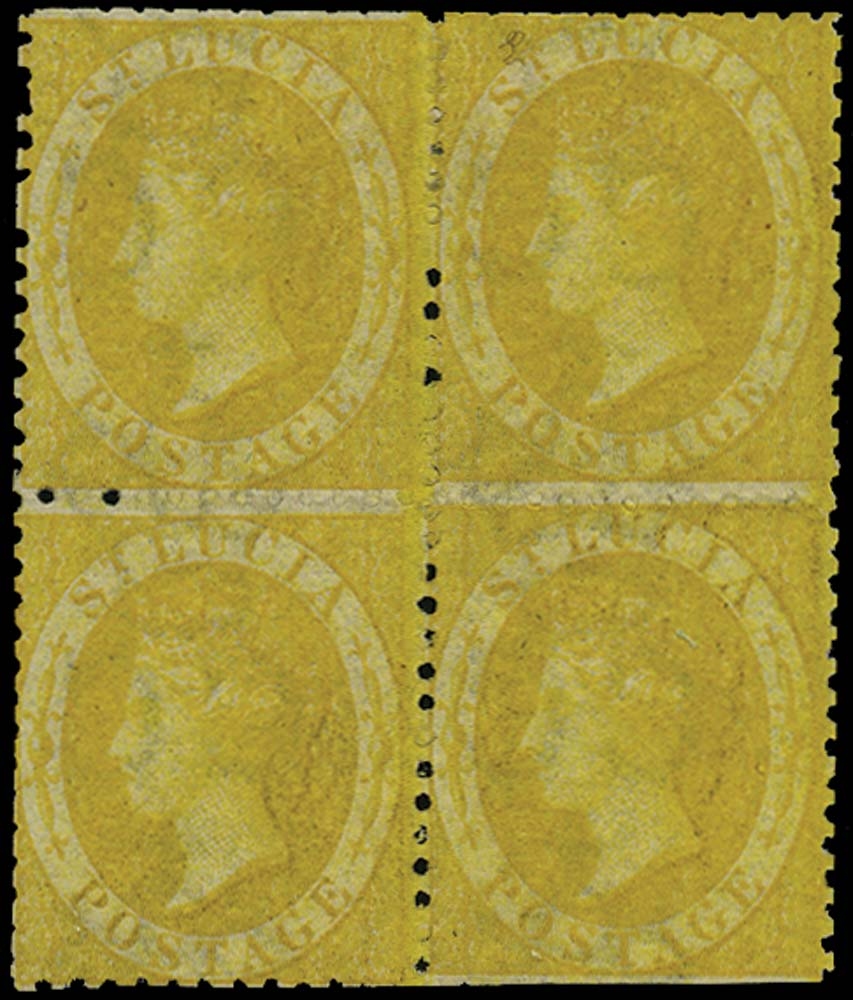 ST LUCIA 1864  SG12x Mint (4d) yellow watermark CC reversed