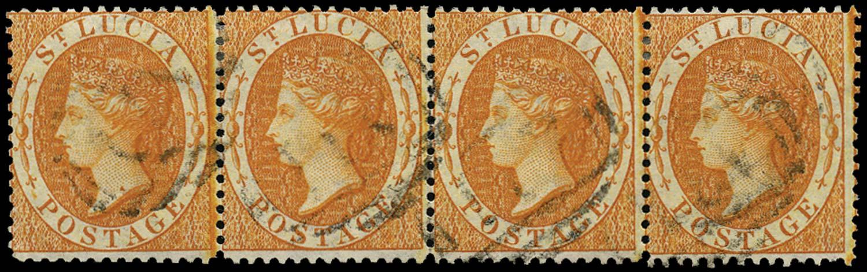ST LUCIA 1864  SG18 Used (1s) orange watermark CC perf 14