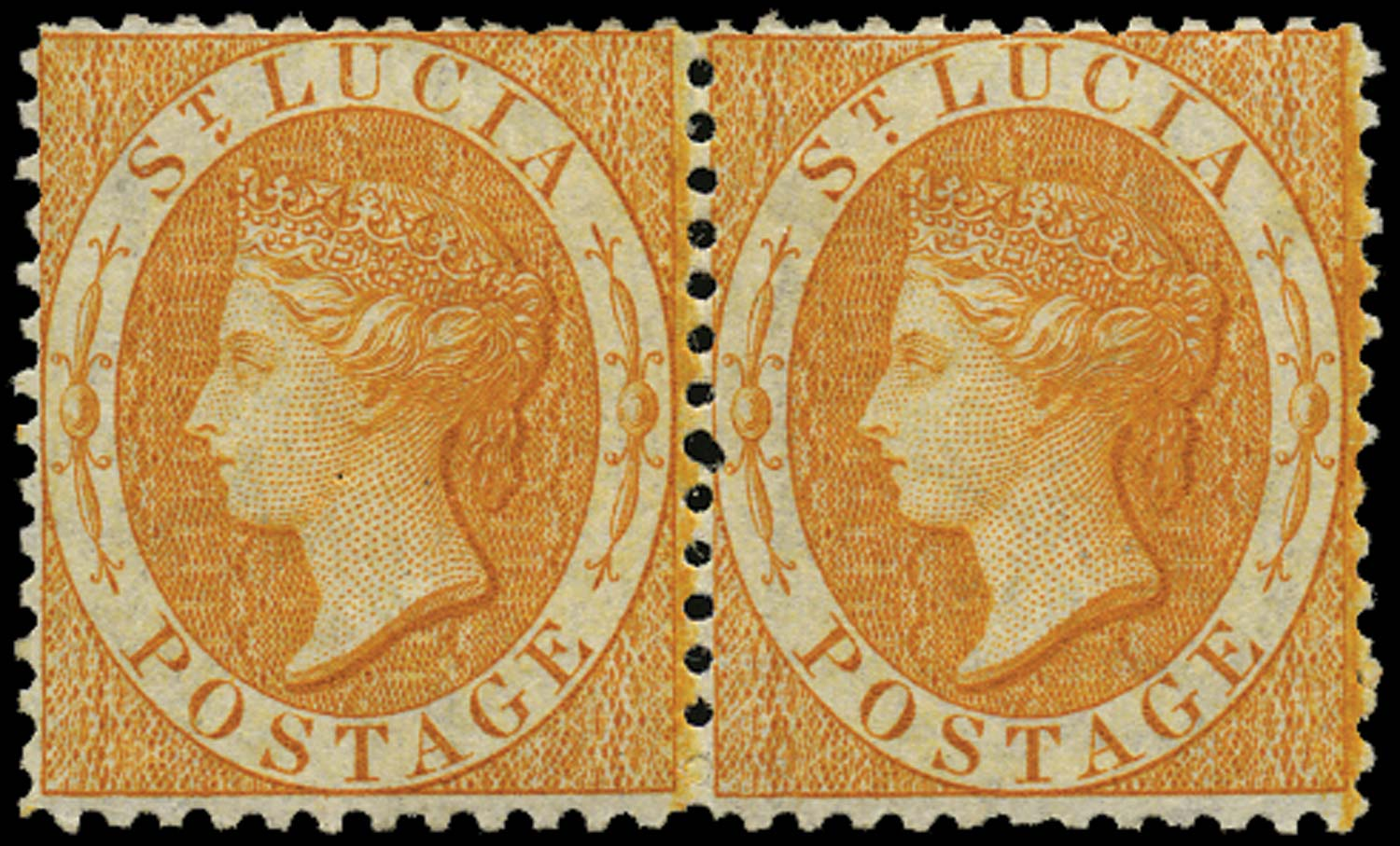 ST LUCIA 1864  SG14c Mint (1s) pale orange watermark CC perf 12½