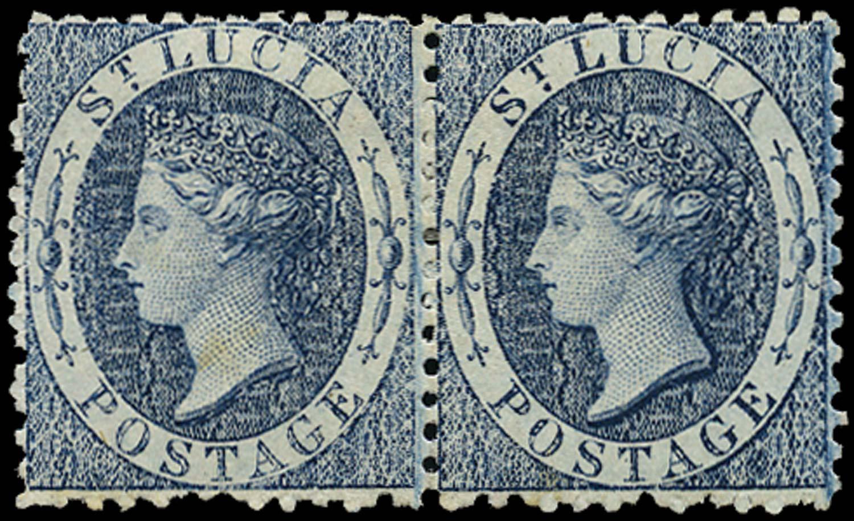 ST LUCIA 1863  SG7 Mint (4d) indigo watermark CC perf 12½