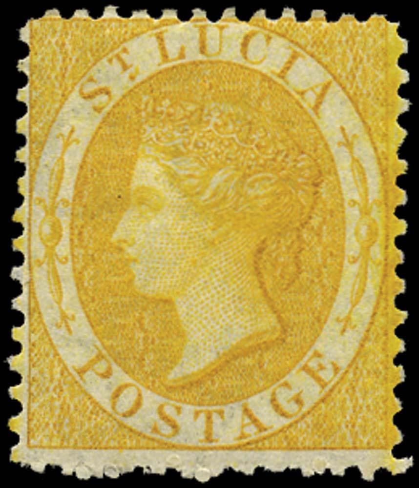 ST LUCIA 1864  SG12c Mint (4d) chrome-yellow watermark CC perf 12½