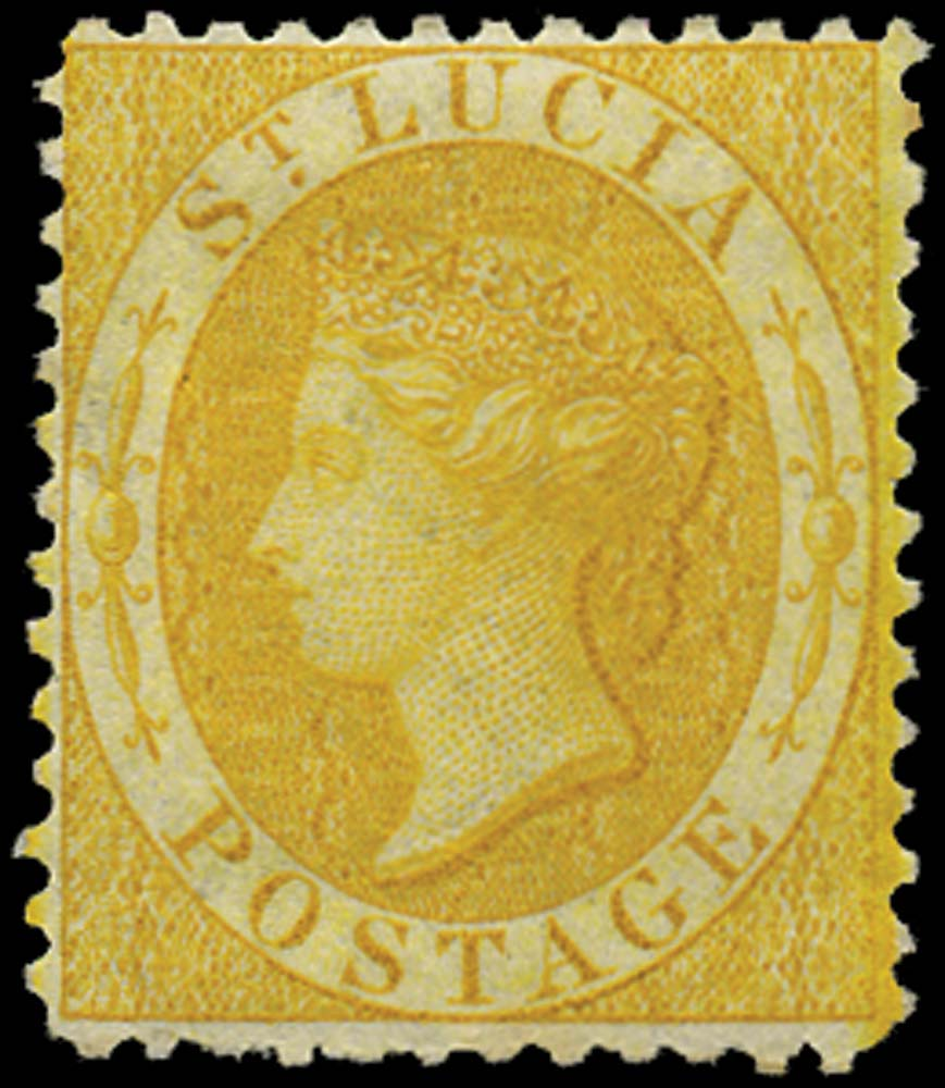 ST LUCIA 1864  SG12c Mint (4d) chrome-yellow watermark CC perf 12½