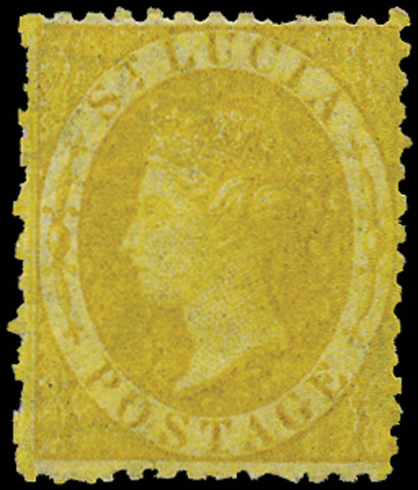 ST LUCIA 1864  SG12y Mint (4d) yellow watermark CC inverted and reversed