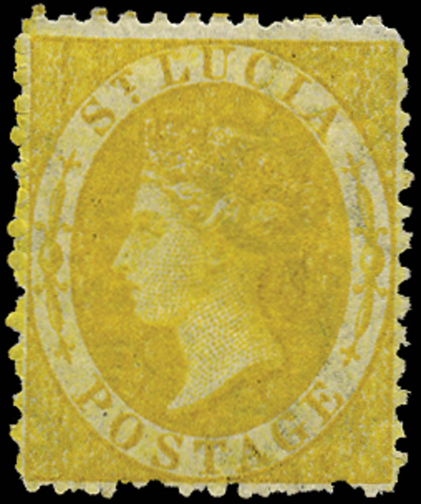 ST LUCIA 1864  SG12 Mint (4d) yellow watermark CC perf 12½