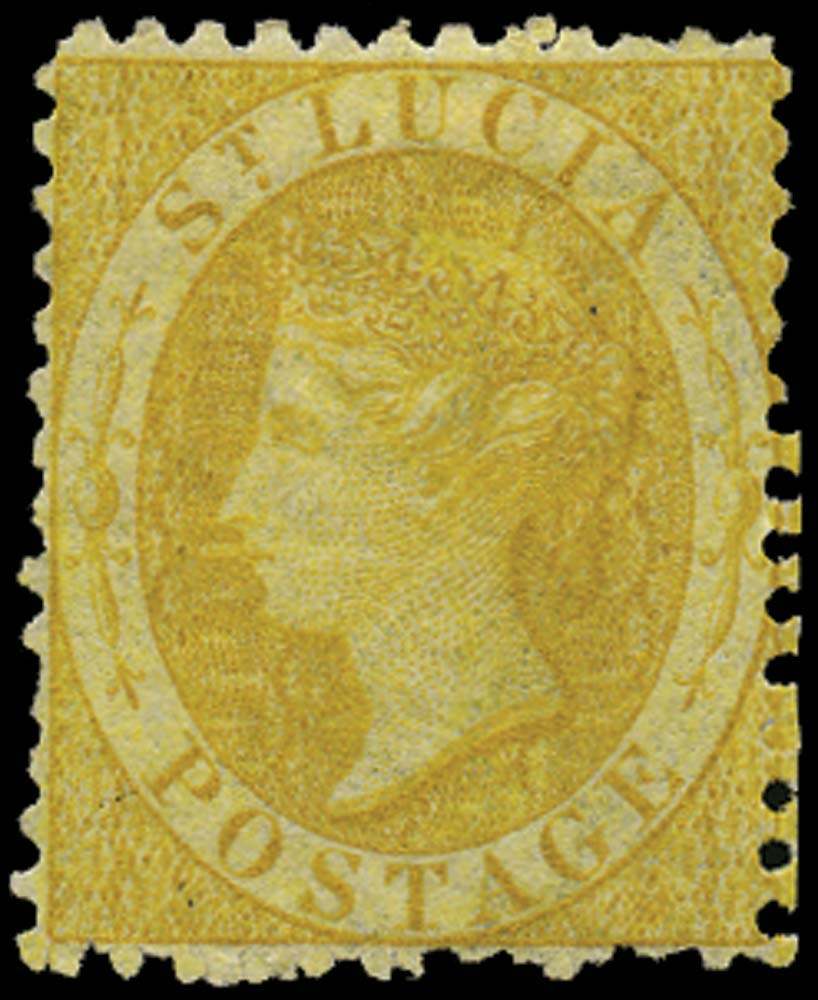 ST LUCIA 1864  SG12x Mint (4d) yellow watermark CC reversed perf 12½
