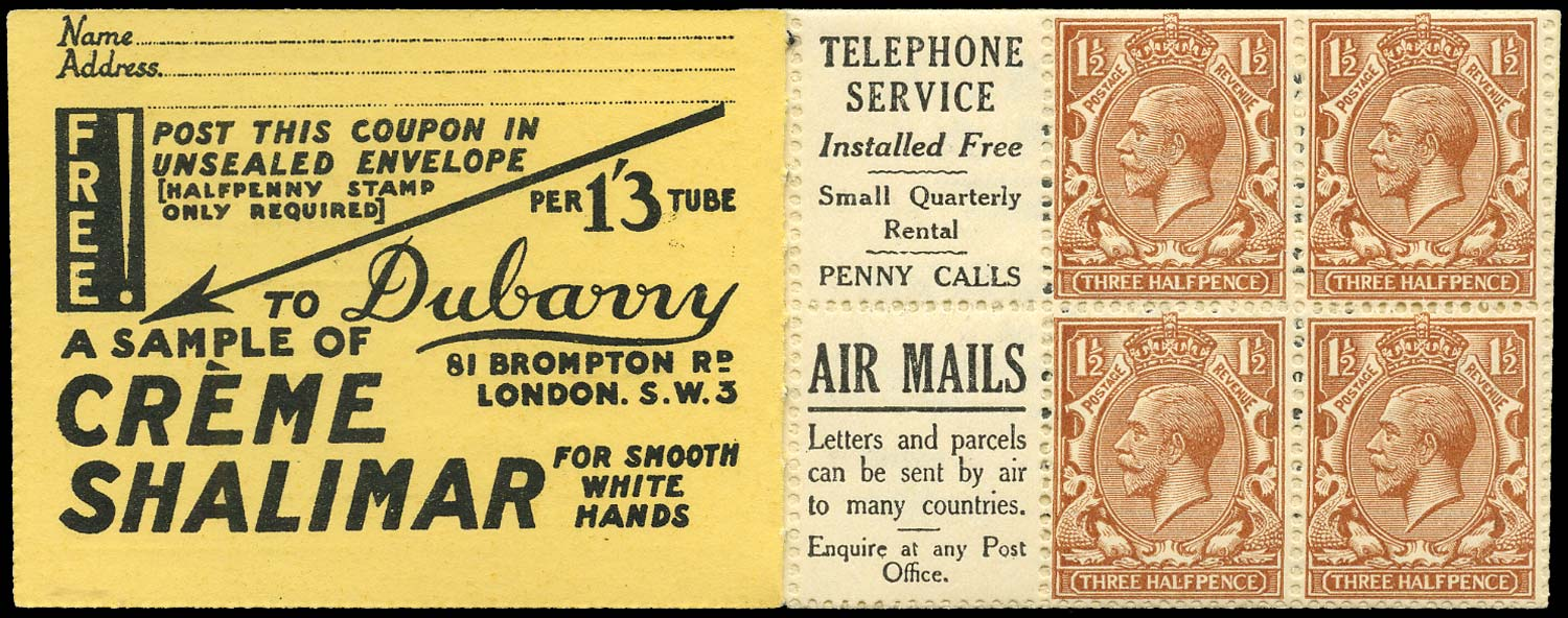 GB 1924  SG420dw Booklet pane - Advert 9