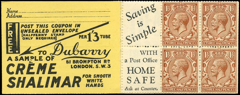 GB 1924  SG420dw Booklet pane - Advert 7