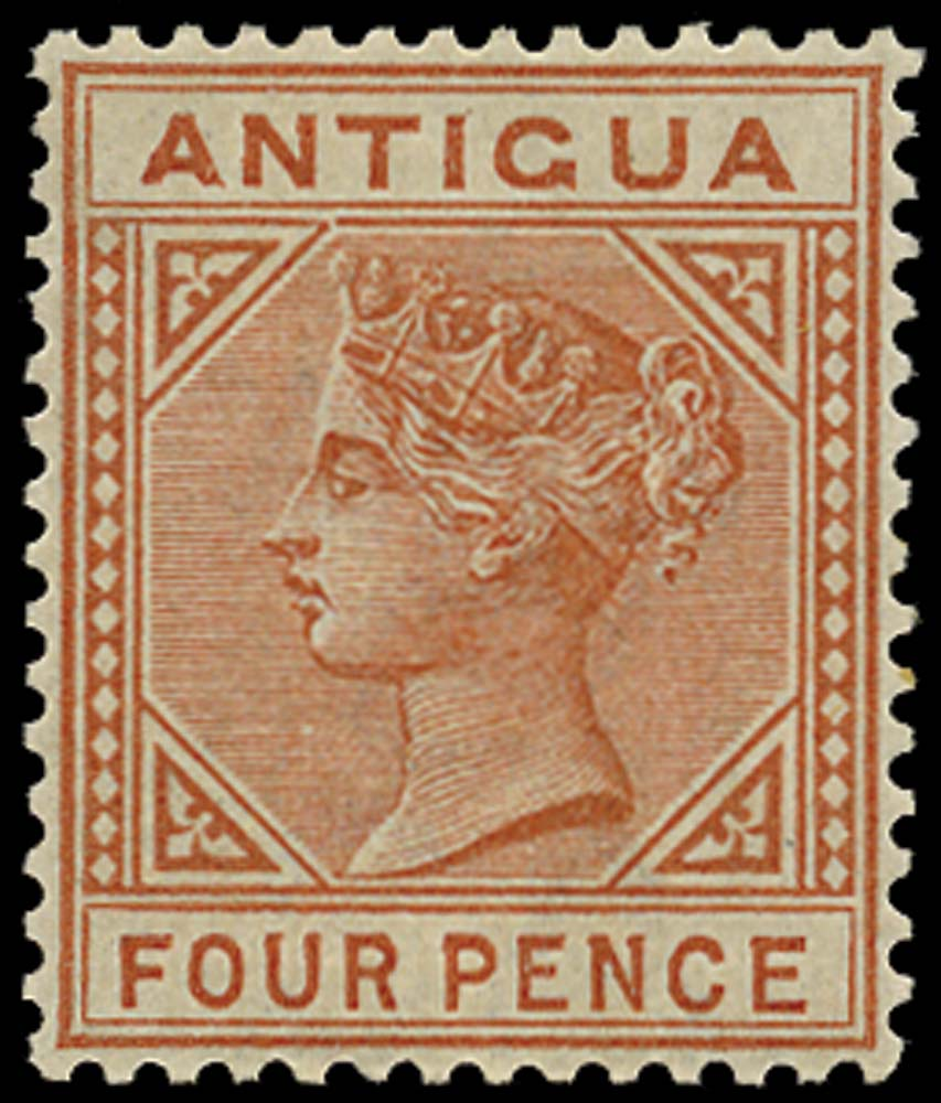 ANTIGUA 1884  SG28a Mint 4d chestnut Top left triangle detached