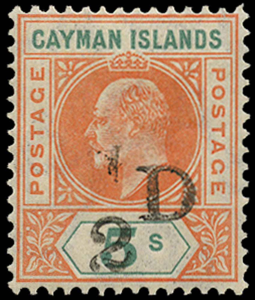 CAYMAN ISLANDS 1907  SG18 var Mint ½D on 5s variety Slotted Frame