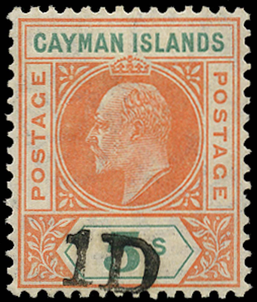 CAYMAN ISLANDS 1907  SG19 Mint 1D on 5s salmon and green