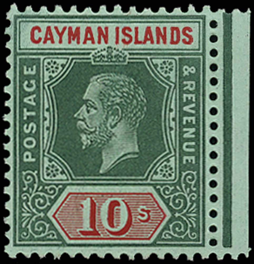 CAYMAN ISLANDS 1912  SG52 Mint 10s deep green and red on green unmounted