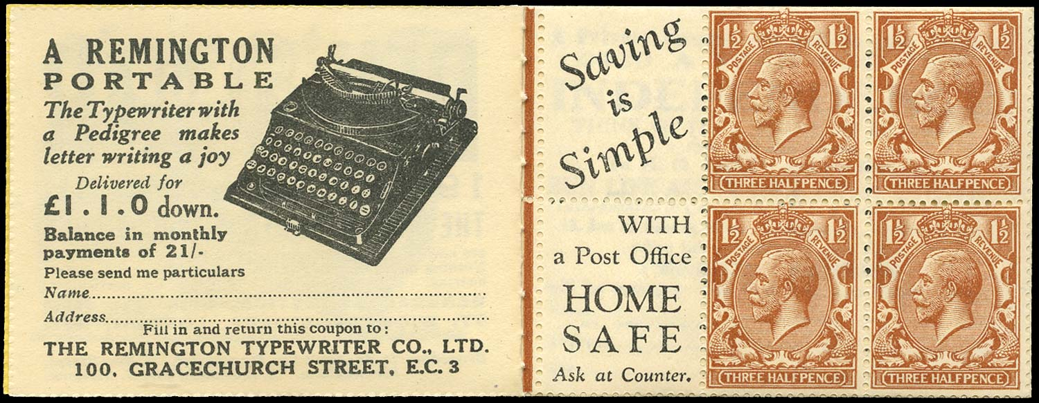 GB 1924  SG420dw Booklet pane - Advert 7