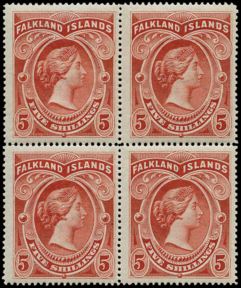 FALKLAND ISLANDS 1898  SG42 Mint 5s red block of 4 with three stamps unmounted