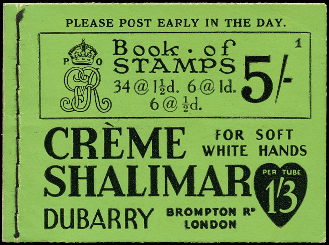 GB 1931  SGBB33 Booklet - Only containing Advert pane