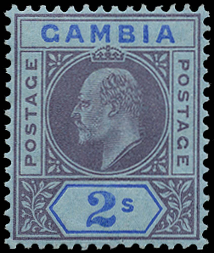 GAMBIA 1909  SG83a Mint 2s purple and blue Dented frame
