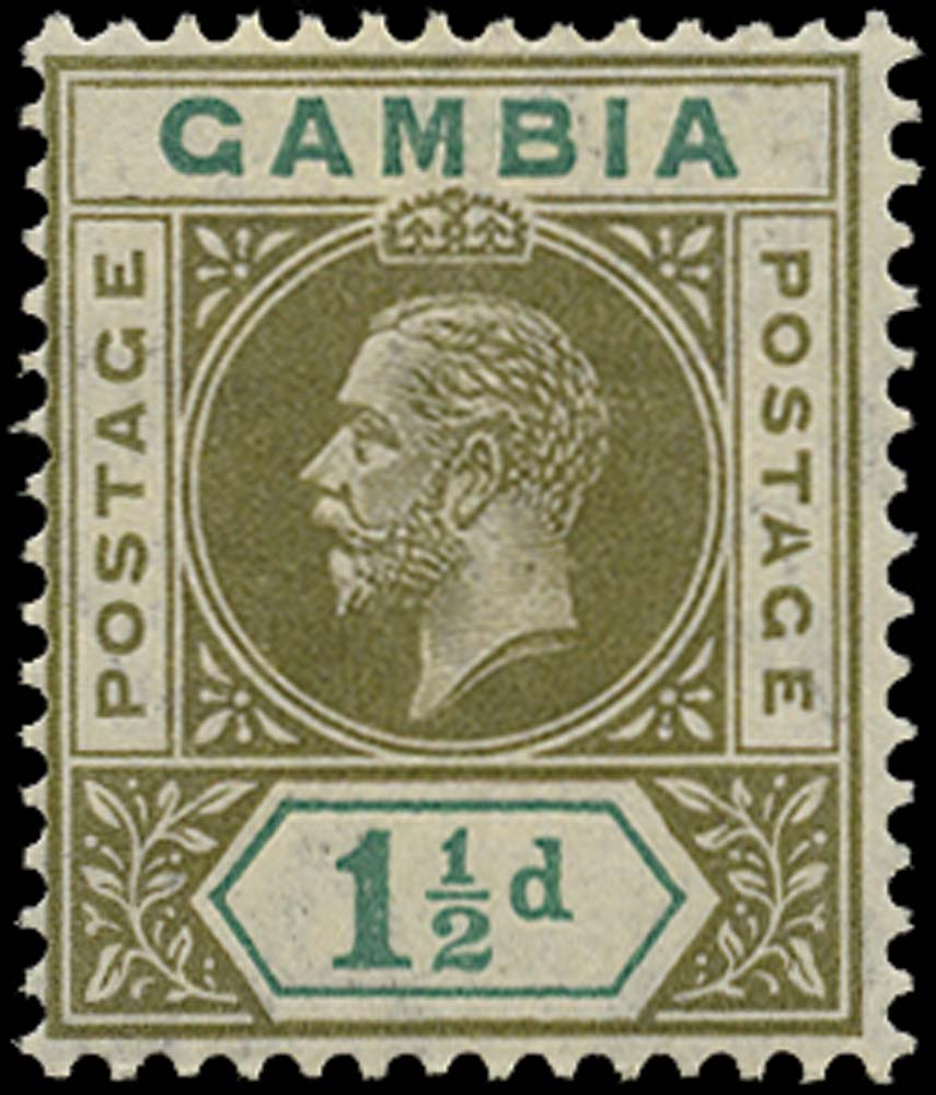 GAMBIA 1912  SG88a Mint 1½d olive-green and blue-green variety Split A