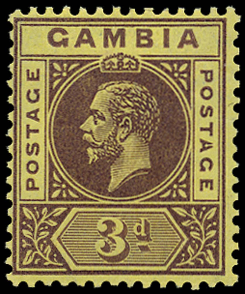 GAMBIA 1912  SG91d Mint 3d purple on pale yellow variety Split A