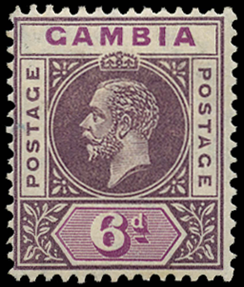 GAMBIA 1912  SG94a Mint 6d dull and bright purple variety Split A