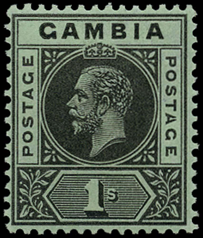 GAMBIA 1912  SG97b Mint 1s black on green variety Split A