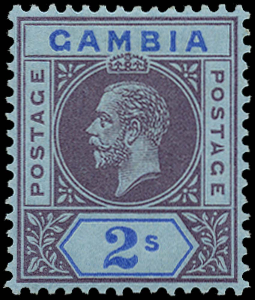 GAMBIA 1912  SG99a Mint 2s purple and blue on blue variety Split A