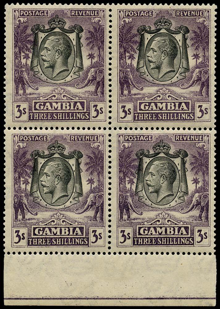 GAMBIA 1922  SG139 Mint 3s slate-purple block of 4