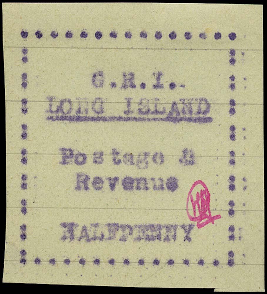 LONG ISLAND 1916  SG6 Mint typewritten ½d mauve on pale green