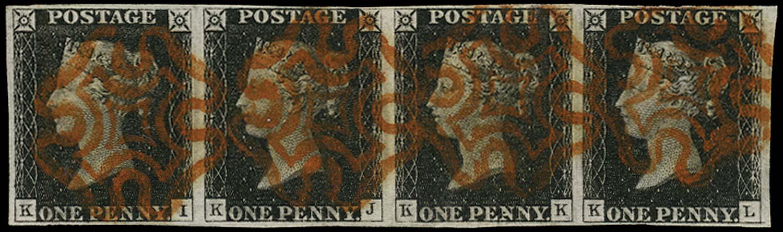 GB 1840  SG2 Pl.1b Penny Black strip of four