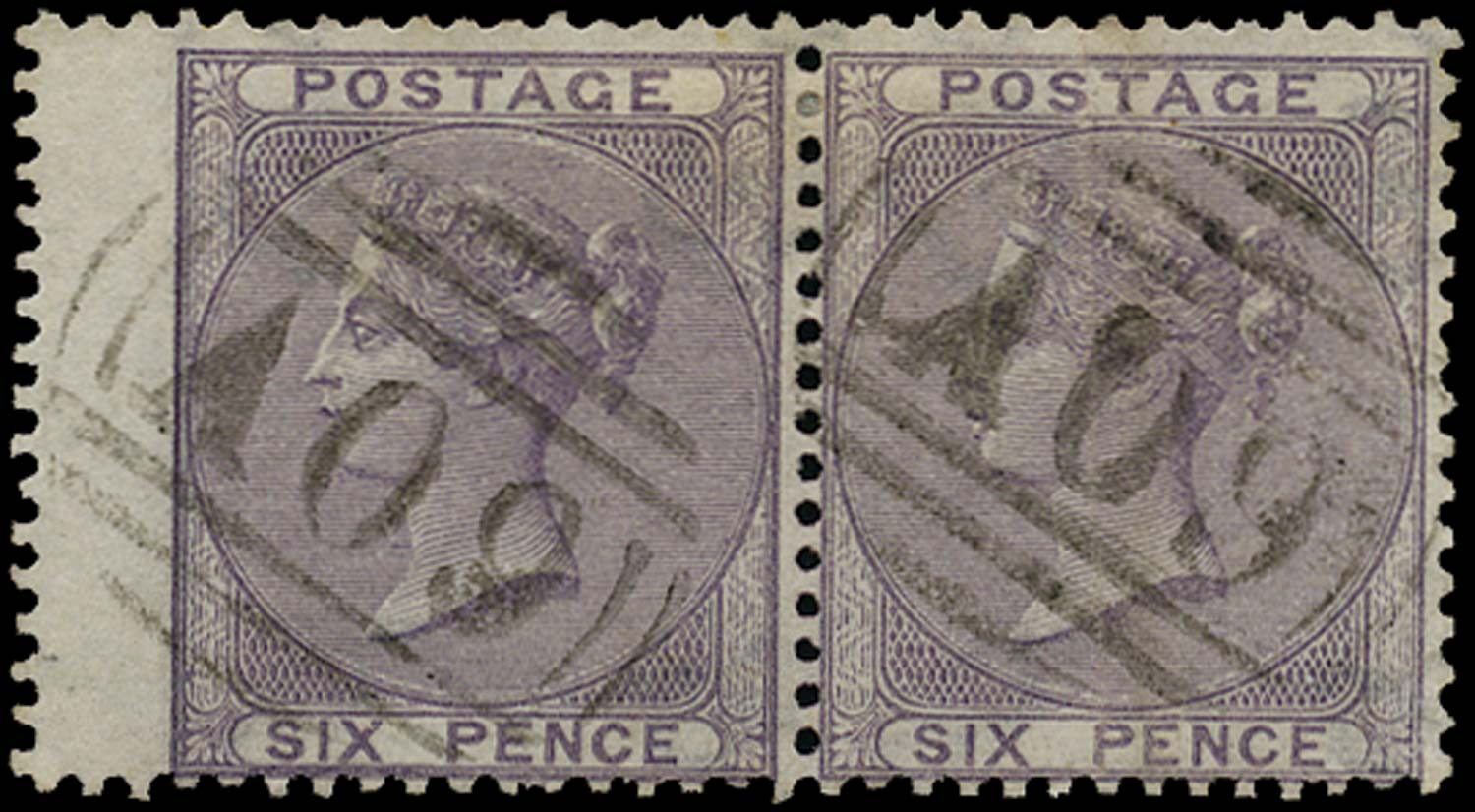 NEVIS 1858  SGZ4 Cancel Great Britain 6d lilac with A09 of Charlestown