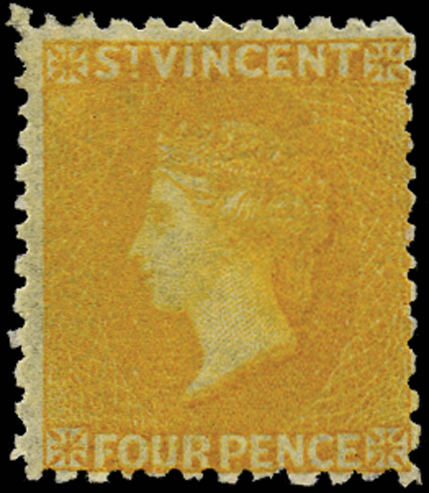 ST VINCENT 1869  SG12 Mint 4d yellow no watermark perf 11 to 12½