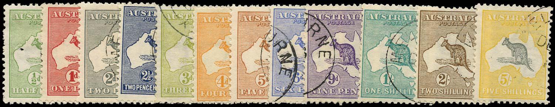 AUSTRALIA 1913  SG1/13 Used Kangaroo and Map short set to 5s