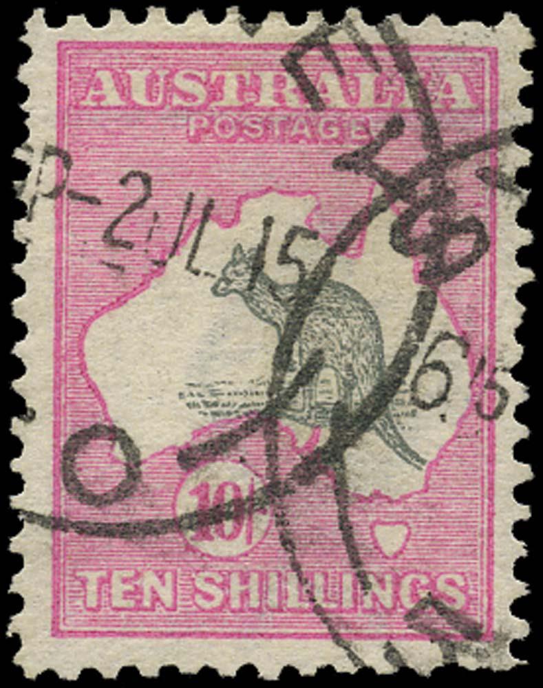 AUSTRALIA 1913  SG14 Used Kangaroo and Map 10s grey and pink