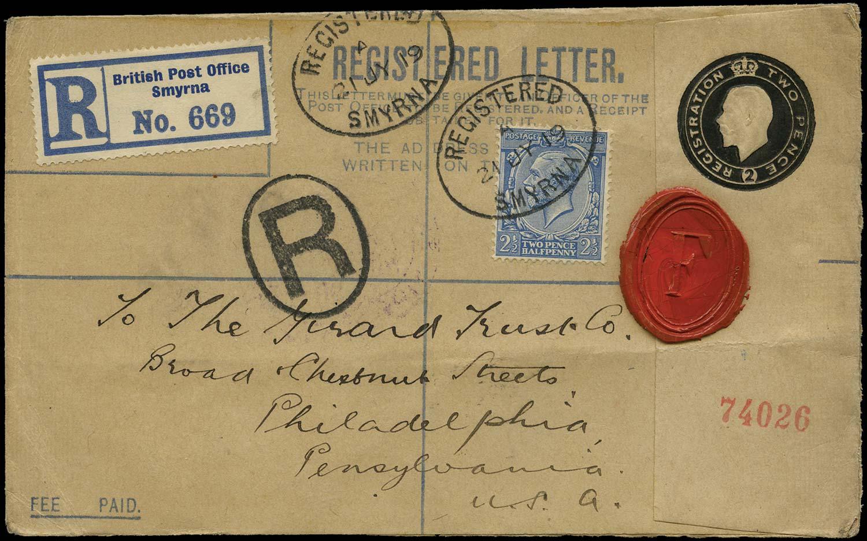 BRITISH LEVANT 1919  SGZ287 Cover Great Britain 2d Forces registered envelope