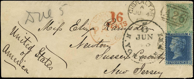 GIBRALTAR 1867  SGZ22, Z63 Cover