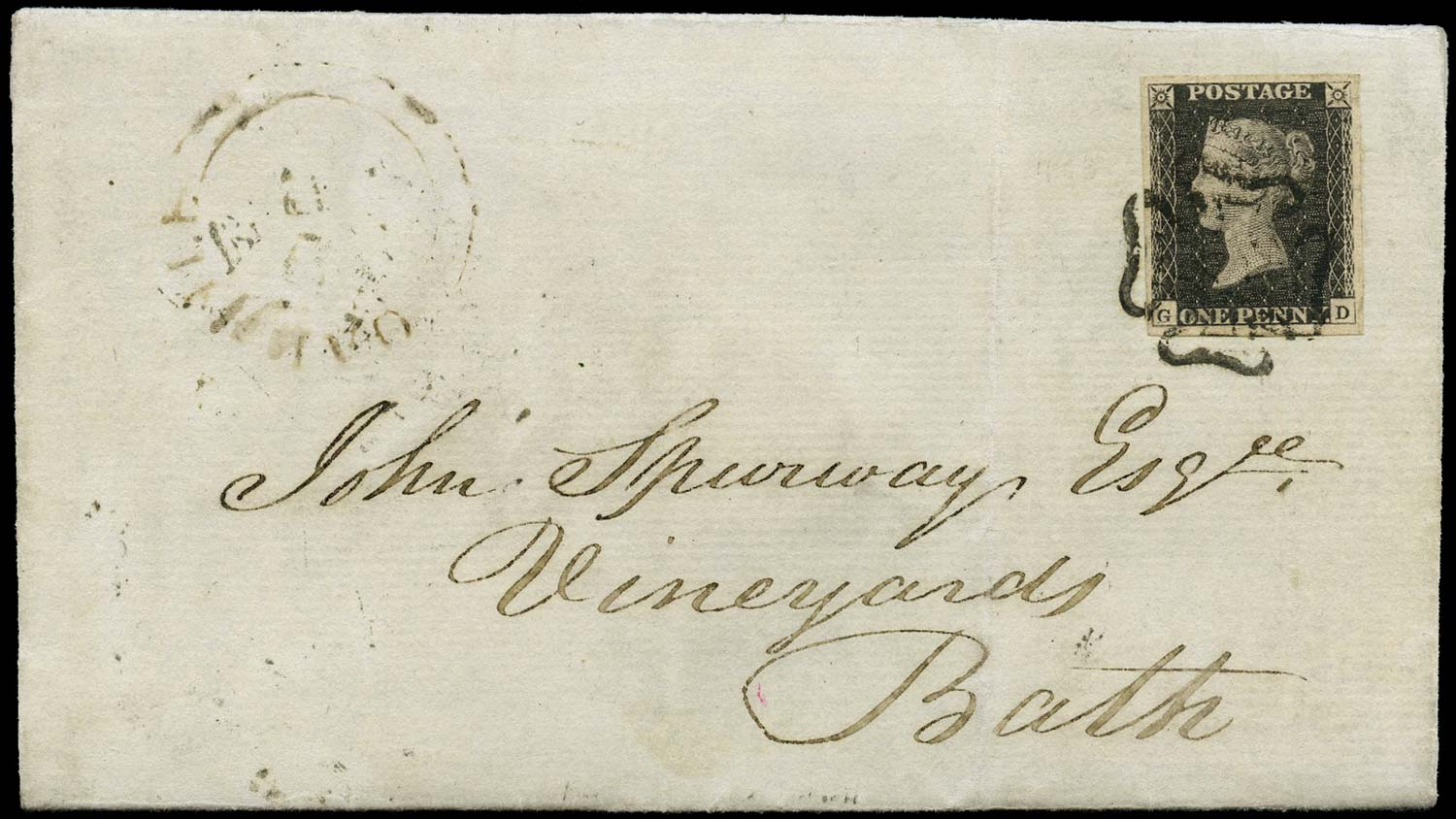 GB 1840  SG3 Pl.11 Cover entire sent from Oakhill to Bath
