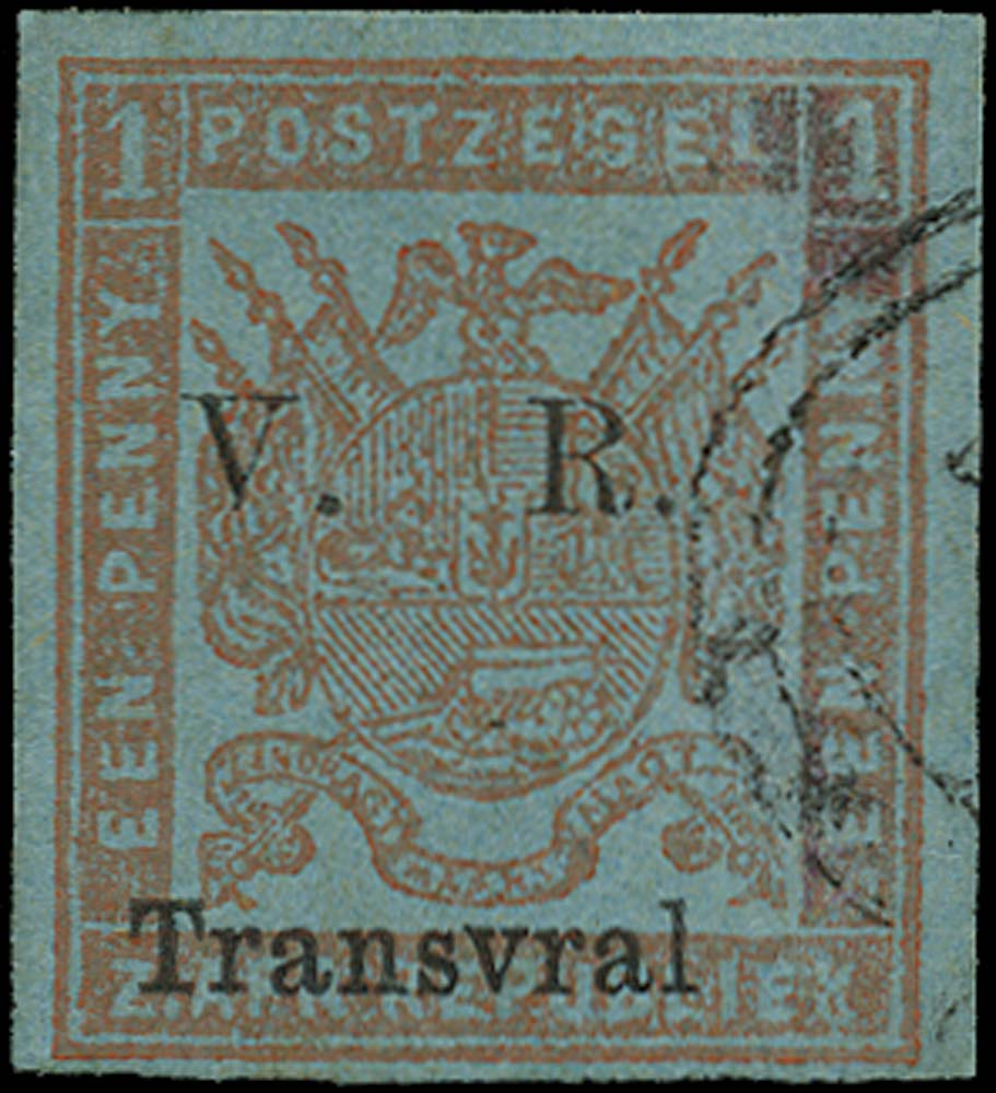 TRANSVAAL 1877  SG116a Used 1d red on blue imperf spelling error Transvral