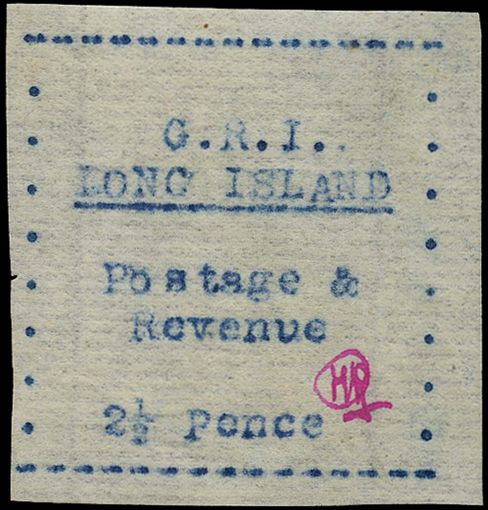 LONG ISLAND 1916  SG15 Mint 2½d blue (carbon) on thin laid paper