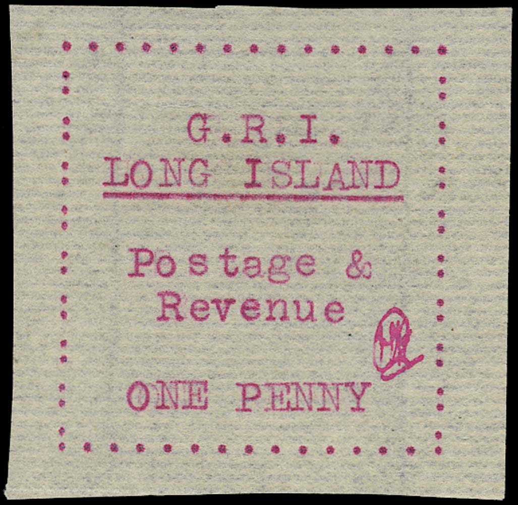 LONG ISLAND 1916  SG13 Mint 1d red on thin laid paper