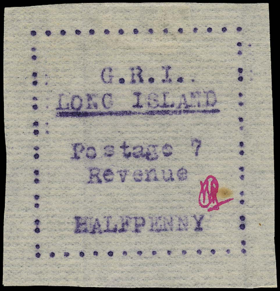 LONG ISLAND 1916  SG9b Mint ½d mauve on thin laid paper variety 7 for &