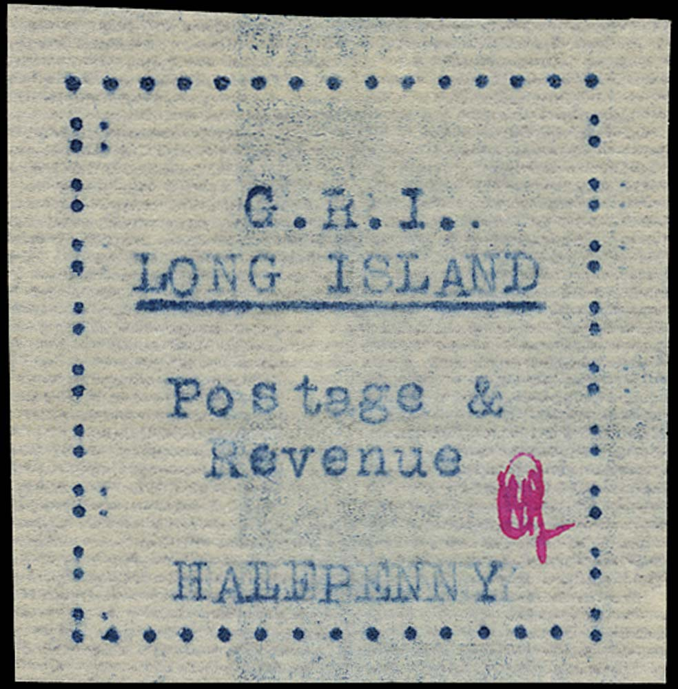 LONG ISLAND 1916  SG8 Mint ½d blue on thin laid paper