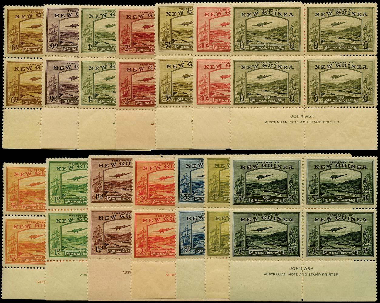 NEW GUINEA 1939  SG212/25 Mint Bulolo Goldfields Airmail set of imprint blocks