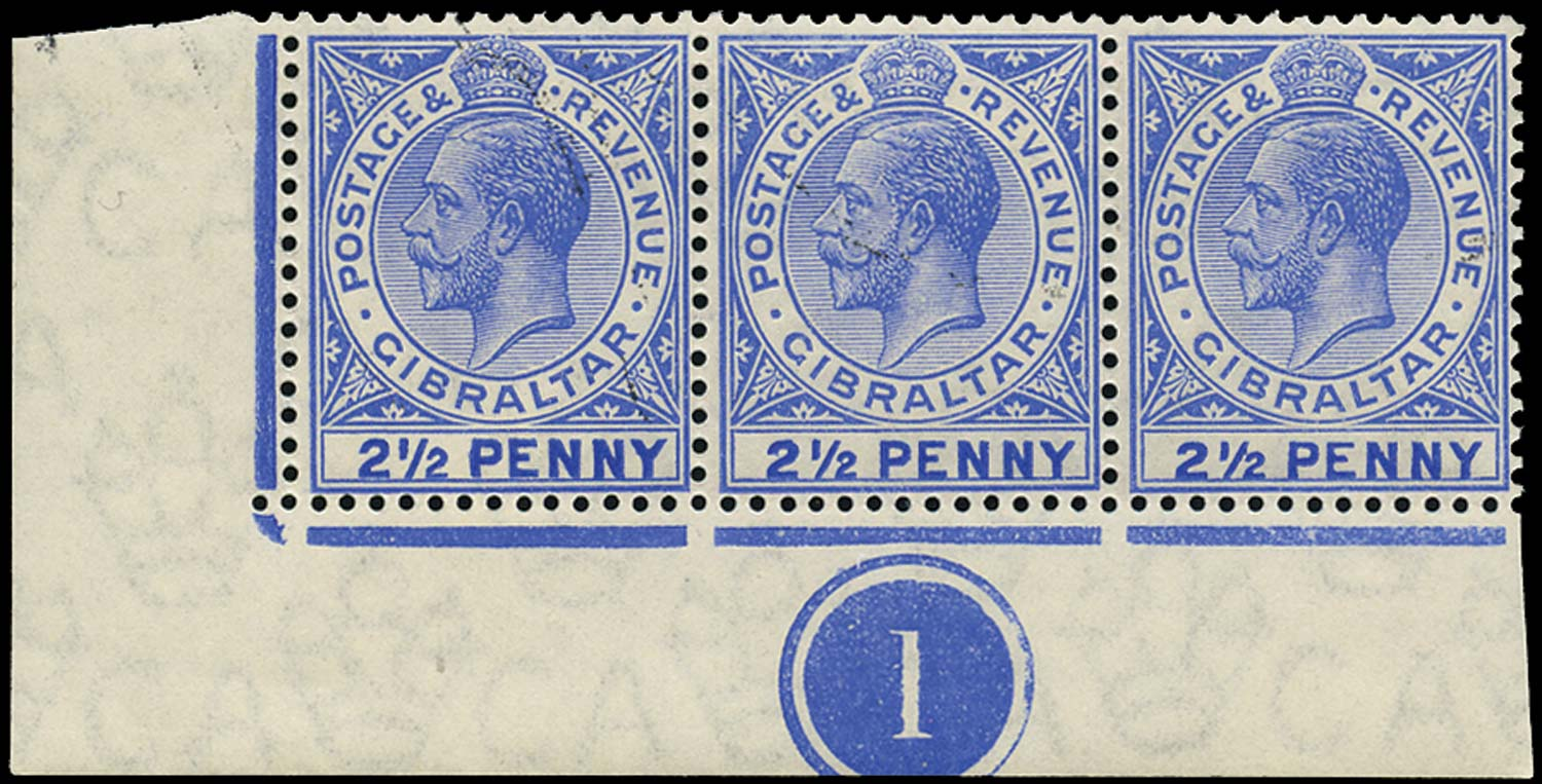 GIBRALTAR 1912  SG79a Mint 2½d deep bright blue variety Large 2 in ½