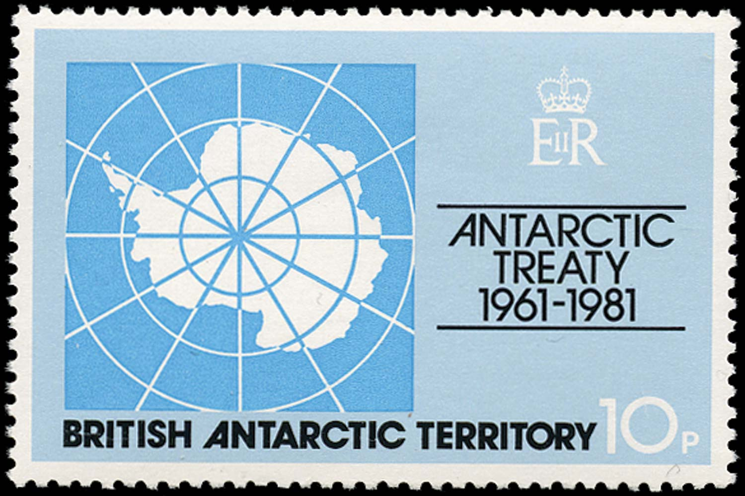 B.A.T. 1981  SG99w Mint Antarctic Treaty 10p Map watermark Crown to right of CA