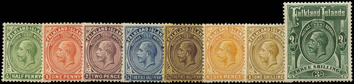 FALKLAND ISLANDS 1921  SG73/80 Mint Script watermark set of 8 to 3s